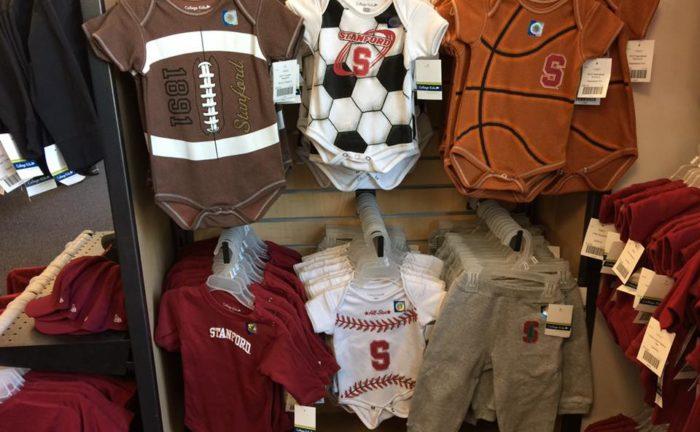 一、史丹福大學販售的各式球類造型幼兒包屁衣,較之哈佛只印上校名的包屁衣更為活潑。